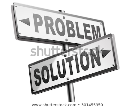 Foto stock: Problema · oposto · sinais · solução · dois · blue · sky