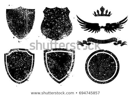 Fekete grunge pajzs embléma festék folt Stock fotó © mikemcd