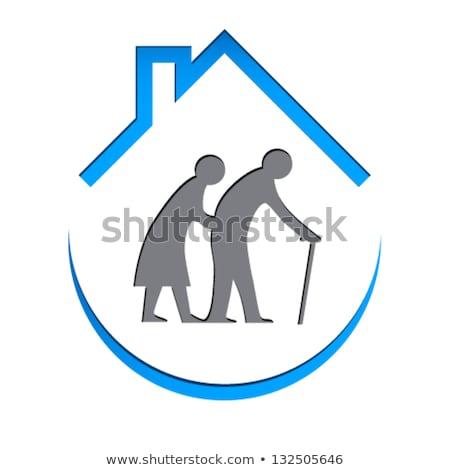 Verpleeginrichting teken vrouw huis hand man Stockfoto © djdarkflower
