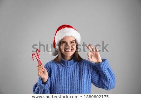 Kadın noel baba elbise jest Stok fotoğraf © stepstock