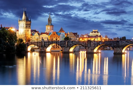 Prague Castle and Charles bridge in the night, Czech Republic Stock photo © tannjuska