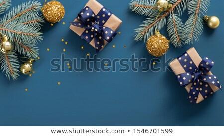 mooie · Blauw · zilver · geschenk · winter · vakantie - stockfoto © tetkoren