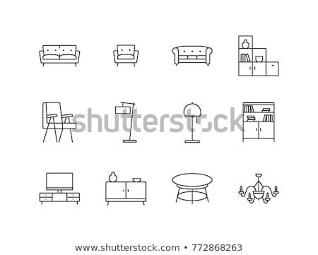 Stock fotó: Vektor · kanapé · ikonok · ikon · szett · ház · fény