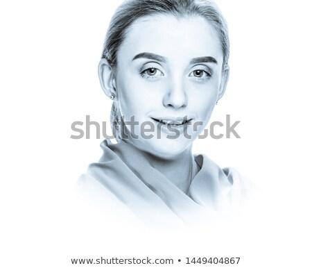 Beautiful girl isolated on white (high-key portrait toned in blu Stock photo © Nejron