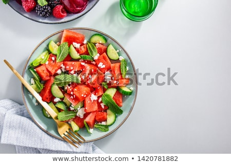 salad with watermelon, feta cheese and cucumber Stock photo © M-studio
