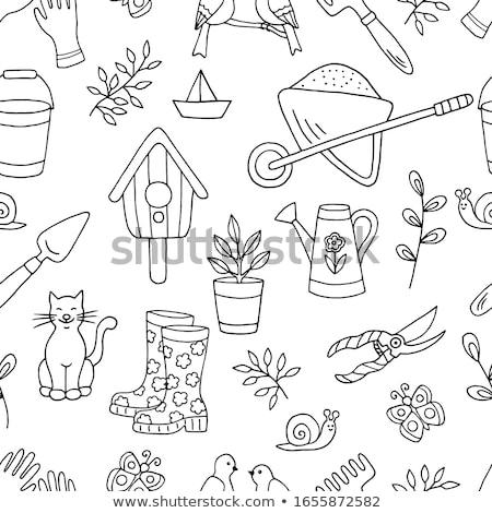 Kroki bahçe kürek vektör bağbozumu Stok fotoğraf © kali