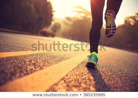 runner athlete running road city stock photo © hasloo