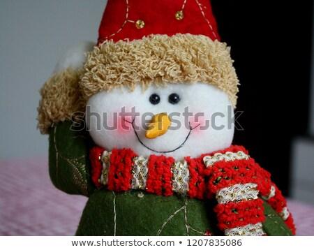 Felpa sonriendo muñeco de nieve juguete bufanda CAP Foto stock © Cipariss