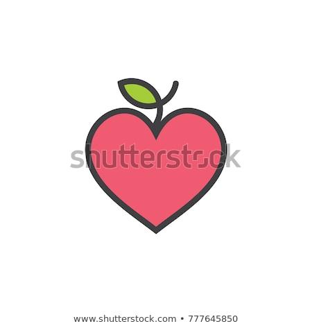 hartvorm · vla · appel · geïsoleerd · witte · vruchten - stockfoto © gemenacom