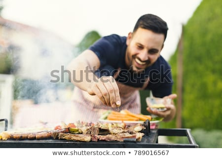 man · koken · grill · isometrische · permanente - stockfoto © cteconsulting