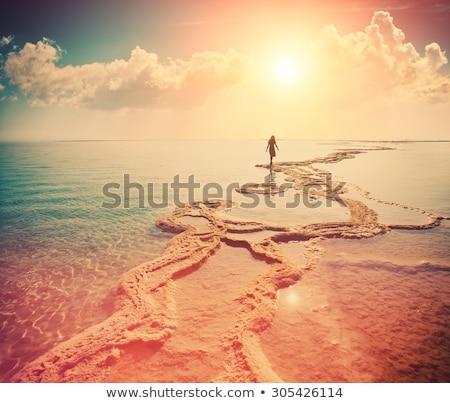 szépség · szőke · nő · sivatag · Szahara · textúra - stock fotó © dashapetrenko