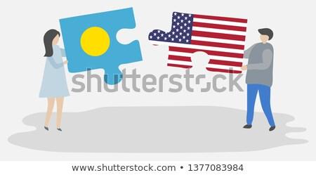 USA · Palau · flagi · puzzle · wektora · obraz - zdjęcia stock © istanbul2009