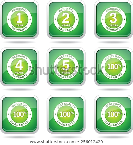 Stock photo: Warranty Guarantee Seal Square Vector Green Icon Design Set
