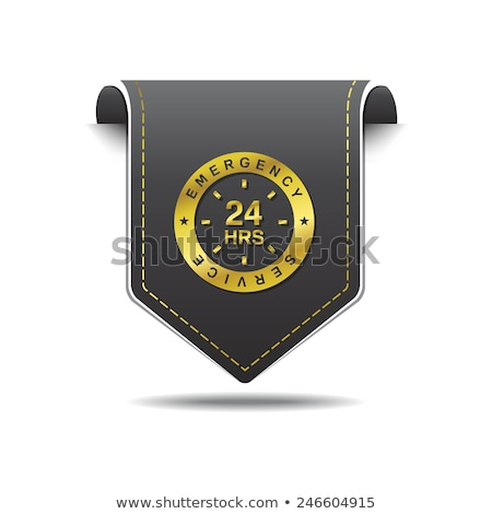 24 Hours Emergency Service golden Vector Icon Design Stock photo © rizwanali3d