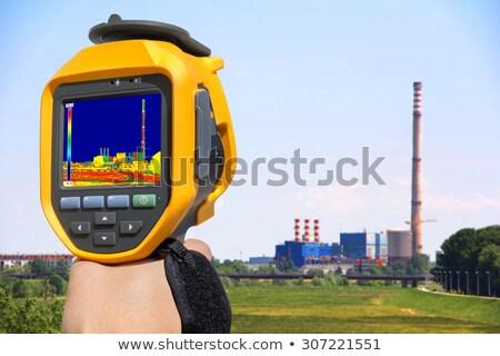 Stock fotó: Infravörös · kép · kémény · energia · állomás · mutat