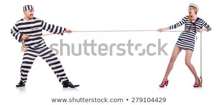 csinos · lány · fogoly · egyenruha · izolált · fehér - stock fotó © elnur