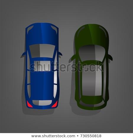 vector flat green off-road suv car body style illustration icon Stock photo © TRIKONA