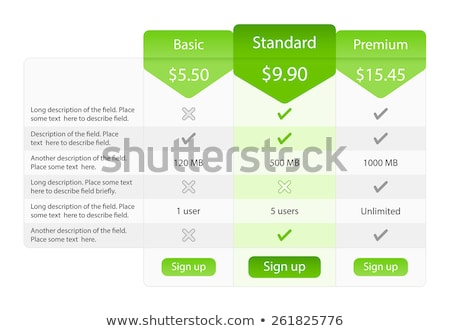 Light pricing table with 3 options and one recommended plan. Green bookmarks and buttons. Stock photo © liliwhite
