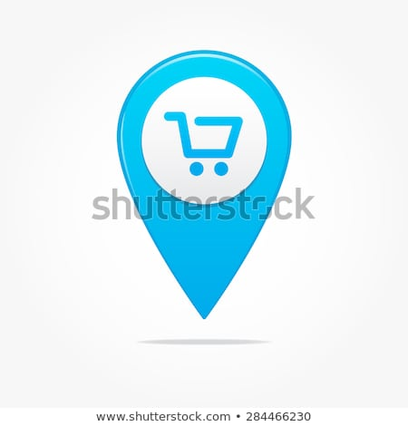 Stock photo: map pointer with shopping cart