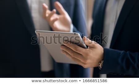 Stockfoto: Hand · digitale · touchpad · tablet