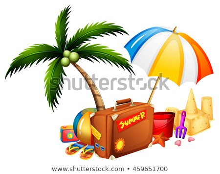 été valise sandcastle illustration plage paysage Photo stock © bluering