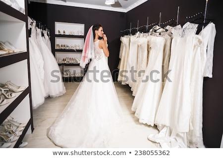 Gyönyörű mosolyog menyasszony nő esküvői ruha vonzó Stock fotó © Victoria_Andreas