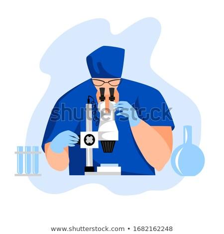 Homme · laboratoire · assistant · bleu · moléculaire · structure - photo stock © rastudio