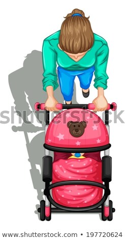 A topview of a mother pushing a stroller with a baby Stock photo © bluering