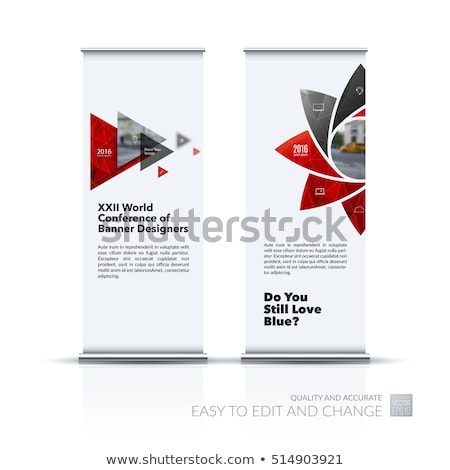 Stock photo: blue roll up banner with geometric shapes