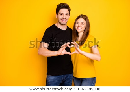 Amour couple mains signe bois Photo stock © dawesign