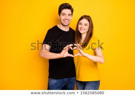 tonen · liefde · paar · handen · teken · hout - stockfoto © dawesign