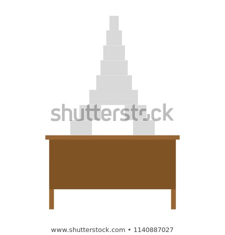 Working table and pile of papers. Eiffel Tower from documents. D Stock photo © MaryValery