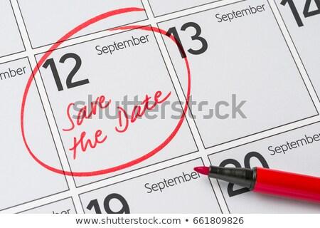 Stockfoto: Opslaan · datum · geschreven · kalender · 12 · partij