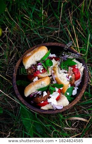Turkey Burgers With Mango Salsastyle Rustic Stok fotoğraf © zoryanchik