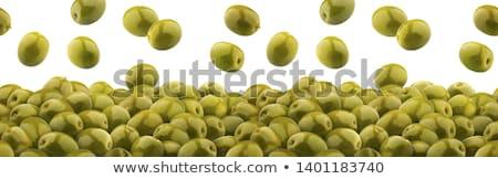 Marynowane zielone oliwek łyżka owoców metal Zdjęcia stock © Digifoodstock