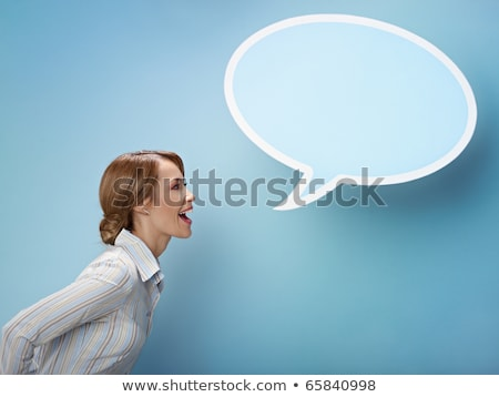 Side view of happy screaming blonde business woman Stock photo © deandrobot