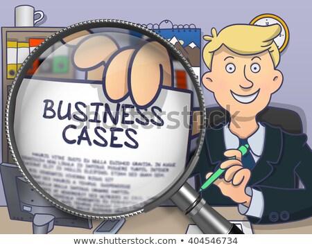 Business Cases through Magnifier. Doodle Style. Stock photo © tashatuvango