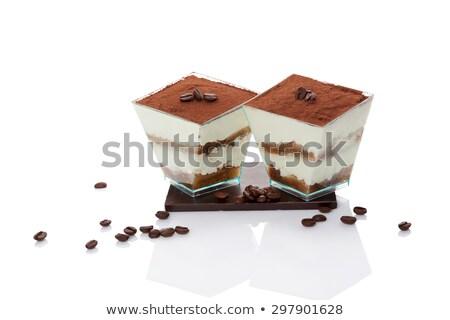 Finom tiramisu kávébab étel krém olasz Stock fotó © M-studio