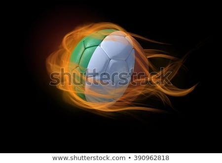 Fútbol llamas bandera Irlanda negro 3d Foto stock © MikhailMishchenko