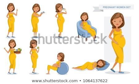 молодые · довольно · беременная · женщина · сидят · диван - Сток-фото © dashapetrenko