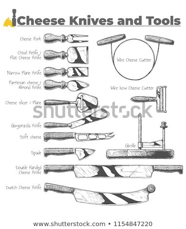 Cheese and Knife Vintage Retro Etching Style Stock photo © Krisdog