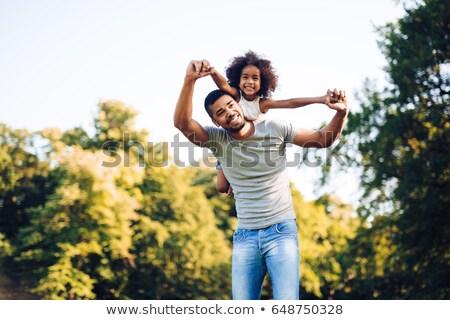 padre · figlia · spalla · bambino · arte - foto d'archivio © lenm