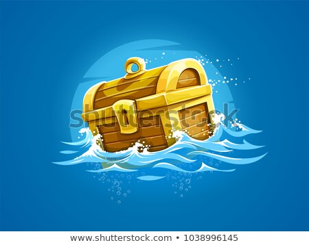 Piratic trunk with treasures and gold floating Stock photo © LoopAll