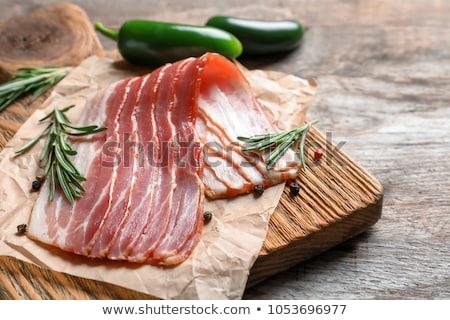 dilimleri · jambon · peynir · biberiye · gıda · ahşap - stok fotoğraf © digifoodstock