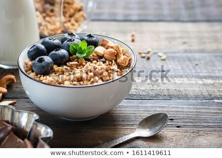 eigengemaakt · yoghurt · honing · noten · glas · jar - stockfoto © melnyk