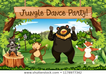 jungle · dieren · grappig · cartoon · herhalen · mogelijk - stockfoto © bluering