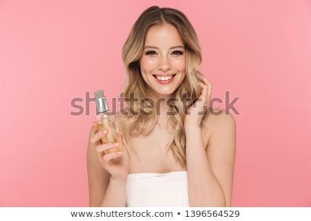 mooie · jonge · blond · zwarte · broek · witte · blouse · poseren - stockfoto © acidgrey