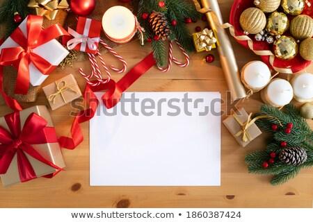 el · yapımı · Noel · ahşap · ışıklar · ağaç · kış - stok fotoğraf © choreograph