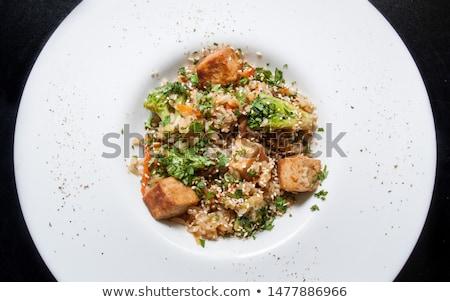 Tofu and broccoli stir-fry with white rice Stock photo © Alex9500