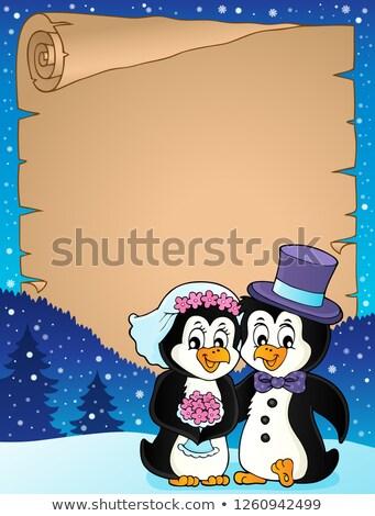 Penguin wedding theme parchment 2 Stock photo © clairev